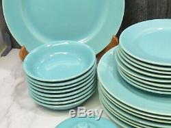 31 Pieces GMB Franciscan Turquoise Aqua el Patio Dinner Side Plates Bowls Svc 8