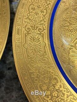 3 10.5 Royal Bavarian HUTSCHENREUTHER BLUE & GOLD Encrusted DINNER PLATE No 27