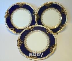 3 Antique English MINTONS China Cobalt Blue Dinner Plates