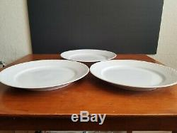 3 Royal Copenhagen White Fluted Half Lace Dinner Plates 10 7/8 #627 Blue Fluted