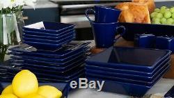 45 Piece Dinnerware Set Square Kitchen Banquet Dinner Plates Cups Dishes, Cobalt