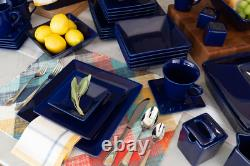 45-Piece Square Dinnerware Set For 6 Banquet Dinner Plates Bowls Dishes Cobalt
