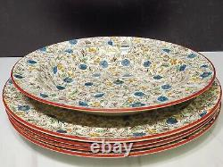 4 Antique Wedgwood Creamware Chintz Dinner Plates w 1 Rimmed Bowl Blue Brown HTF