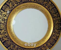 4 Black Knight Hutschenreuther Cobalt Blue Gold Encrusted Cabinet Dinner Plates