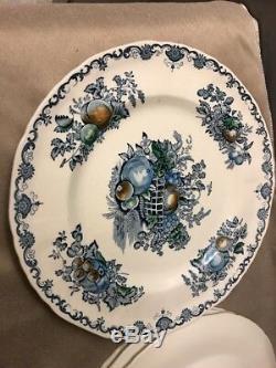 4 Englands Masons Ironstone BLUE MULTICOLOR FRUIT BASKET Dinner Plates 10.5
