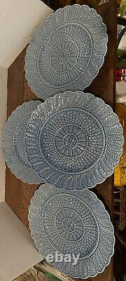 4 Majolica Bordallo Pinheiro Blue Basketweave Dinner Plates Dish Portugal 10.5