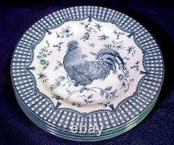 4 Mint QUEEN's China ROOSTER BLUE Dinner 10-3/4 Plate SET Lot COUNTRY Tableware