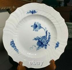 4 Royal Copenhagen Blue Flower 10 Dinner Plates Scalloped Edge #1621 Excellent