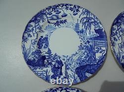 4 Royal Crown Derby Blue Mikado Dinner Plates 10 1/8 Excellent