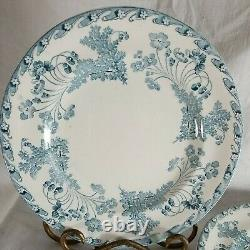 4 Vintage French Ironstone Blue White Transferware Plates Dish 9.25 France