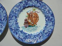 4 Vintage Wedgwood Porcelain HP Ship Dinner Plates Blue Transferware Border
