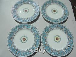 4 Wedgwood Turquoise Florentine Dinner Plates W2714 10 3/4 Excellent