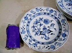 5 Antique Meissen Blue Onion Porcelain China Dinner Plates 9 1/2
