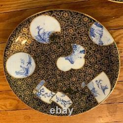 5 Rare Antique Gold Black Blue Royal Worcester Dinner Plates Vintage