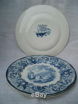 5 Royal Staffordshire A J Wilkinson England Safe Harbour Blue White Plates 10 in