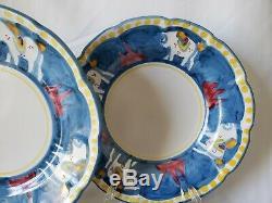 5 pc Vietri Solimene Sul Mare Italy Blue Horse Dinner Plate Bowl cup (Cavallo)