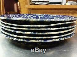 6 Bennington Blue Agate Stoneware 1669 Dinner Plates 10.5, Vermont Spatterware
