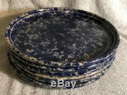 6 Bennington Potters Vermont Blue Tan Agate 10 Pottery Dinner Plates 1962 dg