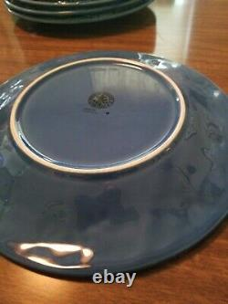 6 Bordallo Pinheiro Grape Blue Embossed Grapes and Vines Luncheon Dinner Plates