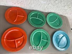 6 Fiesta ware vintage divided, compartment plates, 2 orange, 3 green, 1 Blue