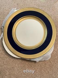 6 Lenox Cobalt Blue&Gold Wide Trim Dinner Plates 10 1/2 Green Mark Presidential