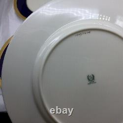 6 Lenox Lowell Cobalt Blue Gold Encrusted 10.5 Dinner Plates Lot 1830/P67B