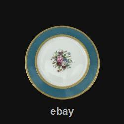 6 Limoges Charles Ahrenfeldt Gilt Porcelain Dinner Plates Blue Floral Mireille