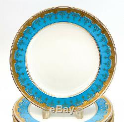 6 Minton England Porcelain Dinner Plates, Blue & Gilt Flowers, 1873