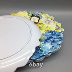 6 Nicole Miller MELAMINE Dinner Plate Set Hydrangea Blue Green Easter Floral