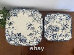 6 PC Set 222 FIFTH ADELAIDE Blue White Fine China Bird Floral Dinner Salad Plate
