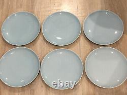 6 PILLIVUYT COUPE 10 Sky Blue withsoft White Rim DINNER PLATES MADE IN FRANCE HTF