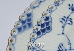 6 ROYAL COPENHAGEN BLUE FLUTED FULL LACE large dinner plate gold rim 1084