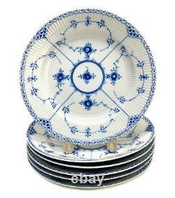 6 Royal Copenhagen Porcelain Dinner Plates Half Lace Border #571