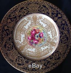 6 Royal Worcester Hand Painted Cobalt 9.25 Dinner Or Salad Plates E Phillips