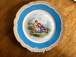 6 Sevres Chateau de St. Cloud Celeste Blue Gold Portrait Plates Dinner Size