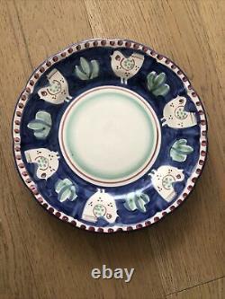 6 Vietri Solimene Sul Mare -Italy Blue Chicken dinner Plates