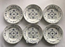 6 Vtg Royal Copenhagen Blue Fluted Plain #175 10 Dinner Plates