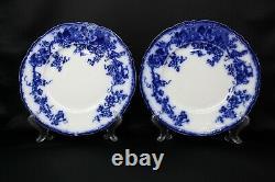 6 Wedgewood Flow Blue Vine Dinner Plate 10 1/4 Semi Porcelain Crown Mark