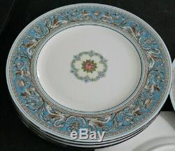 6 Wedgwood Bone China England Florentine W 2714 Turquoise Blue Dinner Plates