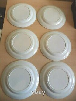 6 old antique BLUE & WHITE TRANSFER willow pattern DINNER PLATES pottery spode