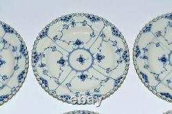 6 rare ROYAL COPENHAGEN BLUE FLUTED FULL LACE large dinner plate gold rim 1084