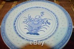 7 Asian Porcelain Blue & White Flower Translucent Rice Eyes 10 Dinner Plates