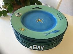 7 K. I. C. Brushes Sea Life Starfish Green Blue Hand Painted 10 3/4 Dinner Plate