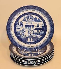7 Mottahedeh Vista Alegre Portugal Canton Blue 11 Inch Large Dinner Plates