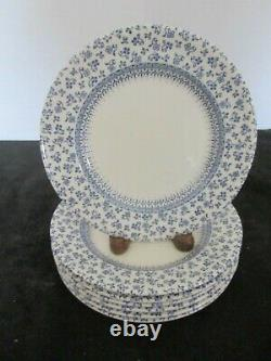 7 Pcs English Ironstone Blue Chintz Floral Provence 6 3/4 Bread Dessert Plates