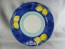 7 Vietri Lemon Dinner Plates, 10-1/8, Ceramica Nando, Amalfi Coast, blue yellow