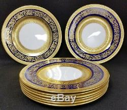 8 Antique Crown Staffordshire China Plates Gold & Cobalt Blue 10 1/4 Diameter