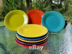 8 DINNER PLATES scarlet turquoise daffodil mulberry poppy + FIESTA 10.5 NEW
