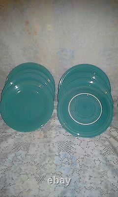 8 DINNER PLATES set lot turquoise blue HOMER LAUGHLIN FIESTA WARE 10.5 NEW