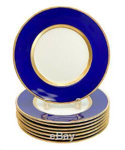 8 Minton England Porcelain Cobalt Blue Dinner Plates, 1923